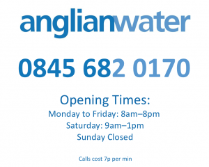 Anglian Water Contact Number and Opening Hours