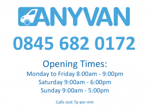 AnyVan Contact Number and Opening Times