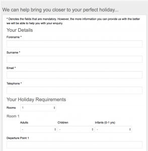 Love Holidays Booking Contact Form