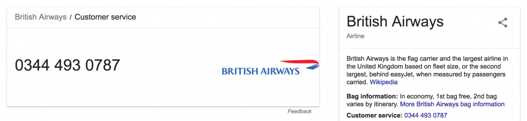 British Airways Customer Service Contact Number Search