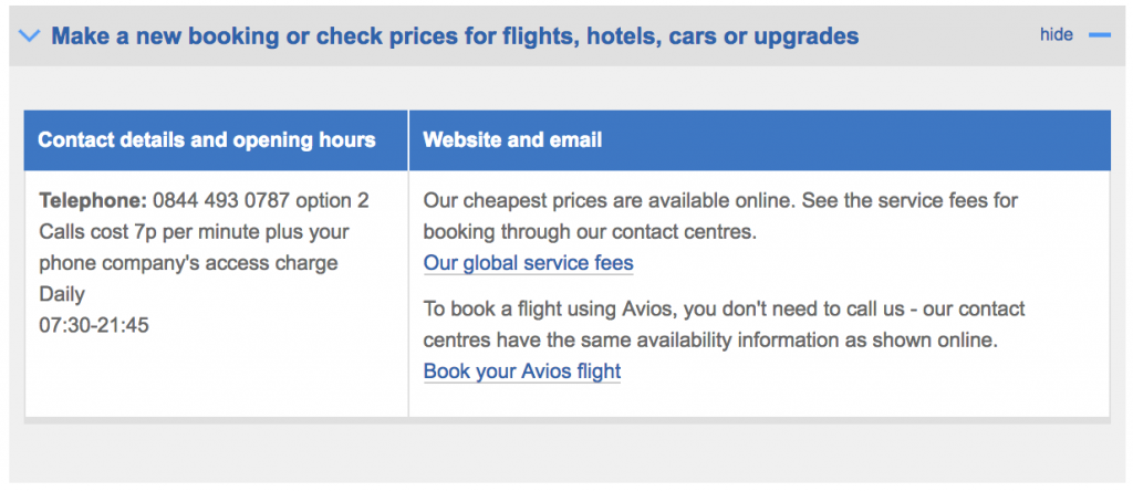 British Airways contact expanded form