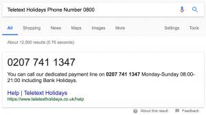 Teletext Holidays phone number 0800