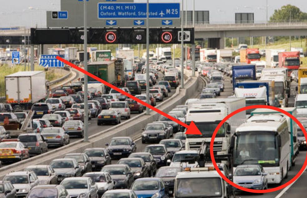 Megabus Traffic Jam UK