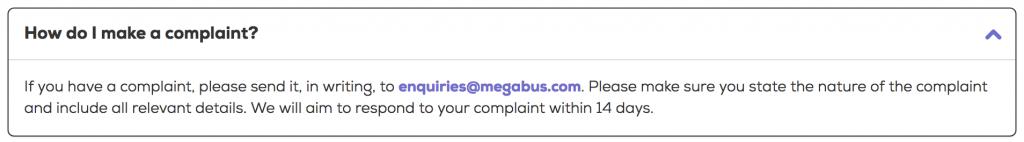 Megabus complaints email