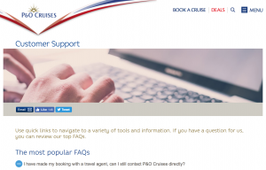 P&O Cruises Customer Support Page