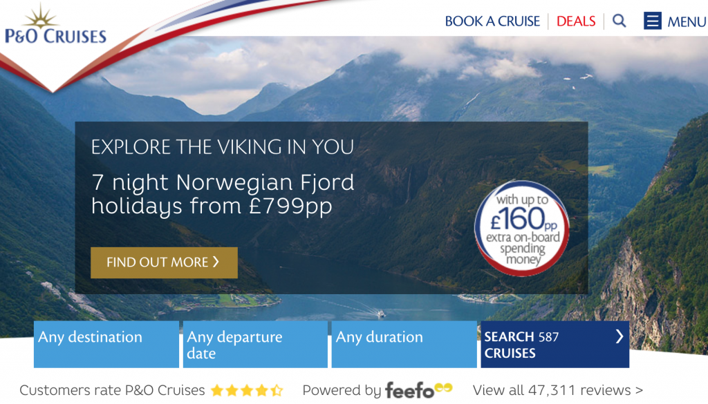 P&O Cruises Homepage No Contact Number