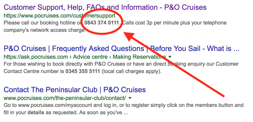 Google Search For P&O Cruises Contact Number