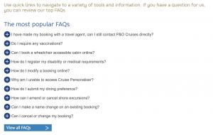 P&O Cruises FAQ's