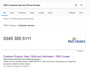 P&O customer service phone number