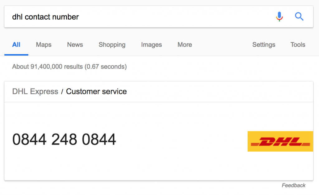 DHL Contact Number google search