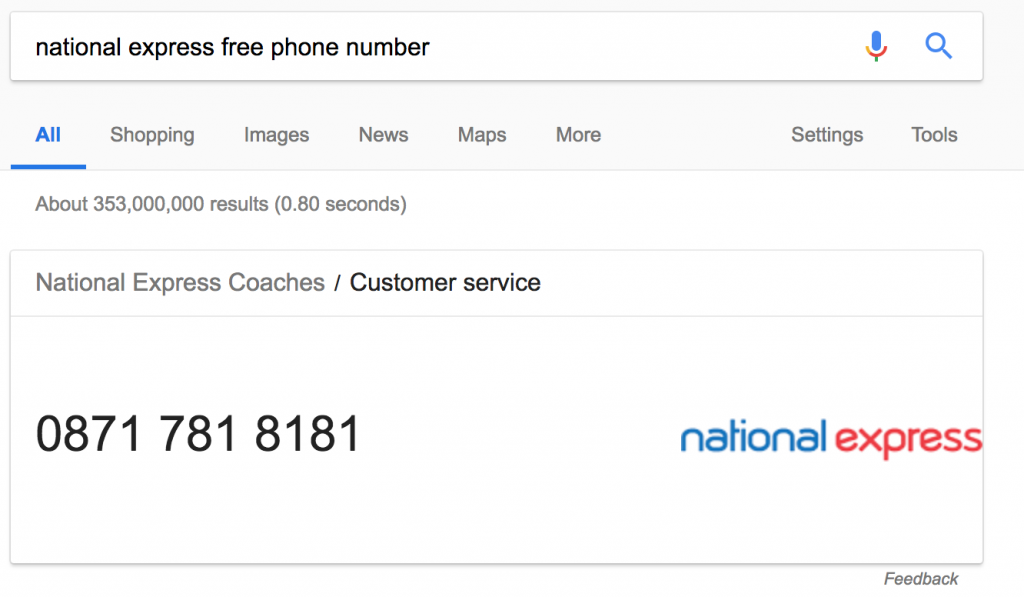National Express Free Phone Number