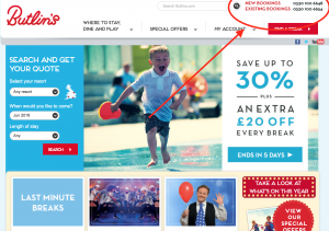 Butlins Home Contact Page