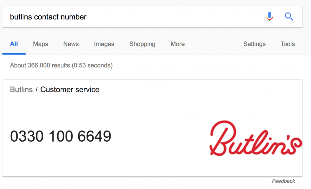 Butlins Contact Number Google Search