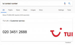 Google Search For TUI Contact Number