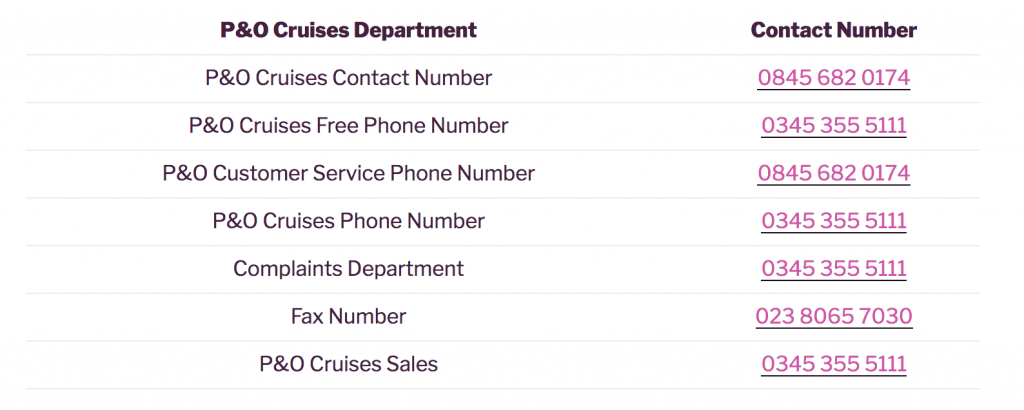 P&O Cruises Contact Departments Free