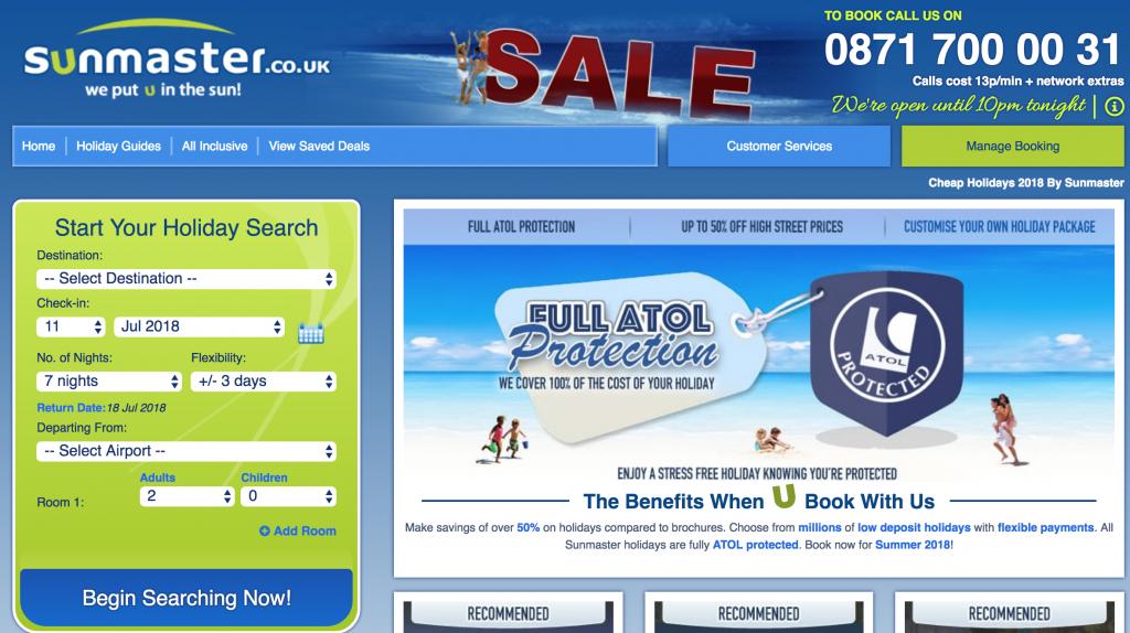 Sunmaster website homepage displaying phone number