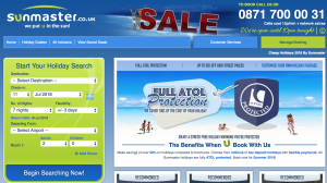 Sunmaster website homepage displaying phone number