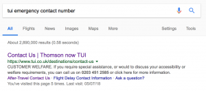 Search for TUI 24 hour Emergency contact number
