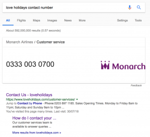 Love Holidays Contact Number google search