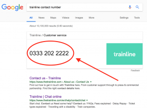 "Google Search for ""Trainline Contact Number"""