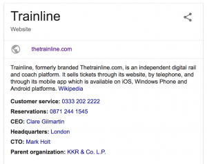 Trainline company information and telephone number