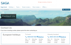 Saga Holidays Main Contact Number