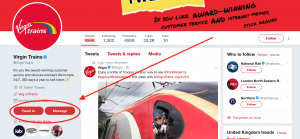 Virgin Trains contact information on Twitter