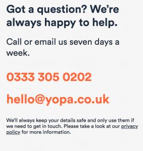YOPA Contact Homepage