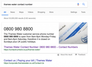 Thames Water contact number google search