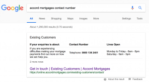 "Google Search For ""Accord Mortgages Contact Number"""