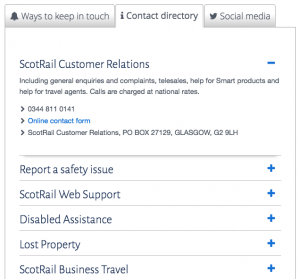 ScotRail contact number departments