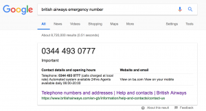 British Airways Emergency Helpline Search