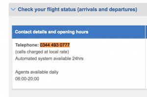 British Airways Check Flight Status Number