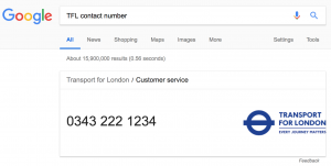 TFL Contact Number Google Search