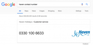 Haven contact number google search result